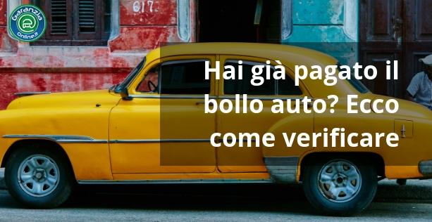 Come controllare il pagamento bollo auto